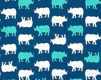 Rhino Rhinoceros Print on Blue Teal Turquoise Cotton Fabric by Babychic Andover per Fat Quarter per metre FQ