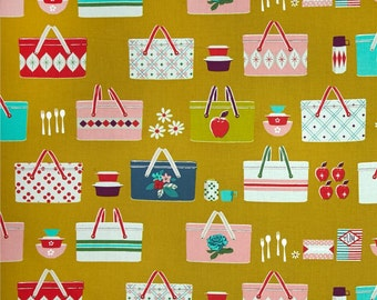 Picnic Baskets Mustard Cotton Fabric from Picnic collection Cotton & Steel by Melody Miller per fat quarter per metre