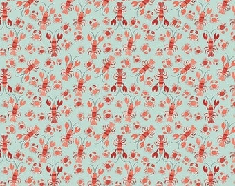 Lobster Crab Crustacean Cotton Fabric from Offshore Collection by Deena Rutter for Riley Blake Designs per FQ per metre