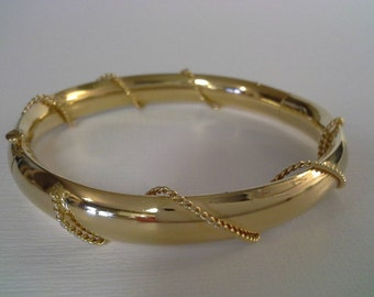 Gold Tone Bangle, Vintage Bangle, Rope Design Bangle, Gold Rope Bangle, Gold Rope Bracelet, Twisted Rope Bangle, Gold Bangle