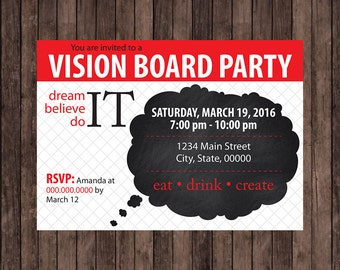 vision board party thought cloud invitation - Vision Board Party Invitation