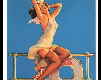 """Gil Elvgren Vintage Pinup Illustration """"Ankles Aweigh"""" Sexy Pinup Mature Wall Art Deco Book Print 5.5"""" x 4"""""""