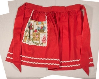 Vintage Red Cotton Half Apron with White Trim, Right Pocket with Charming Kitchen Scene, Motif of Flowers, Ferns, Fruit, Teapot