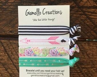 Hair Ties, Hair Tie Bracelets, Black and White, Succulents, Flower Hair Ties, Deer Antler Hair Ties