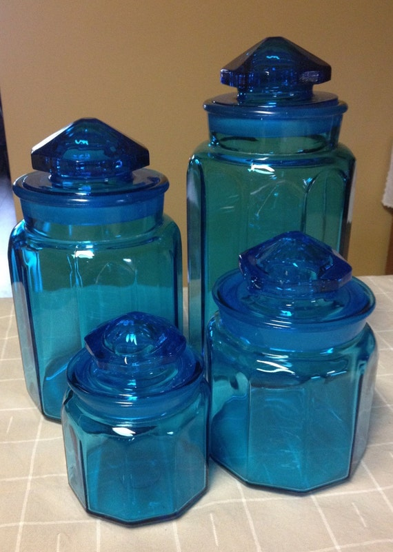 Vintage colonial cobalt blue glass apothecary canisters set - Blue glass kitchen canisters ...