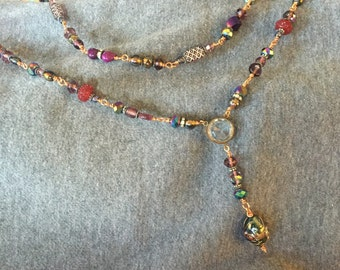 Purple Vintage Bead Y Necklace on Copper Wire with Vintage and Modern Accents