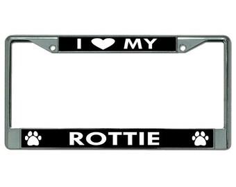 I Heart My Rottie Dog Chrome License Plate Frame - LPO2775