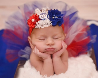 New York Giants -- Baby girl outfit -- Football tutu and headband -- Newborn New York Giants--- NY GIANTS  photo prop-- football team