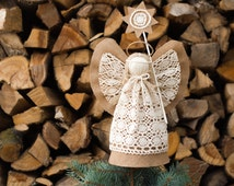 Angel Christmas Tree Topper, Burlap Ornament, Holiday Centerpiece, Christmas Gift