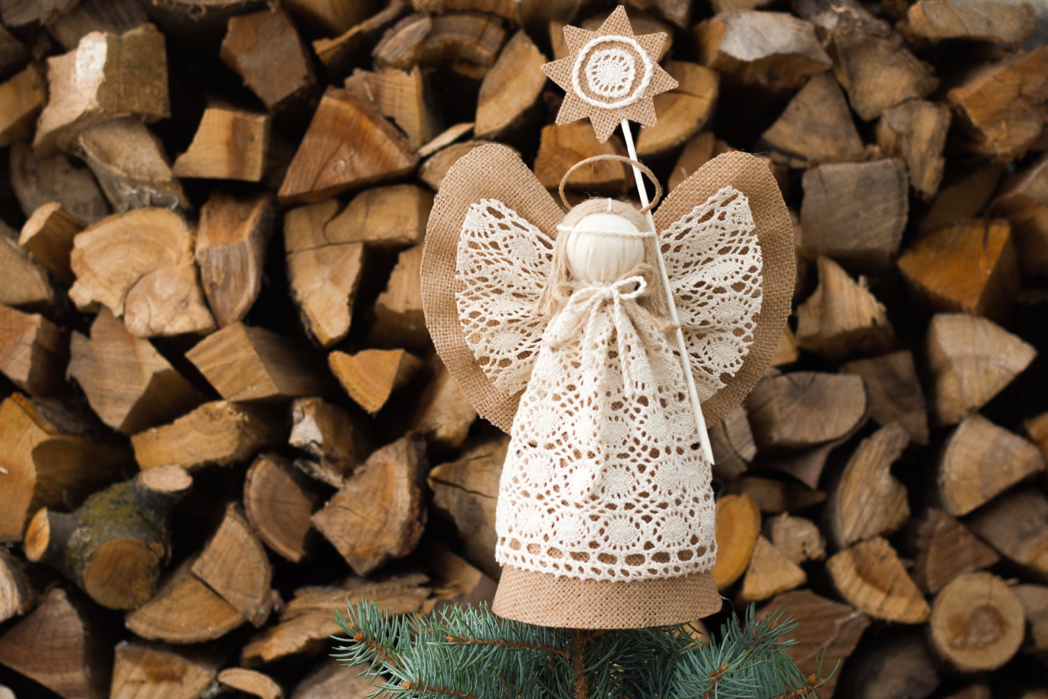 Angel Christmas Tree Topper Burlap Ornament Holiday By