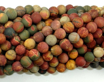 Matte Picasso Jasper Beads, 6mm (6.5 mm) Round Beads, 15.5 Inch, Full strand, Approx 62 beads, Hole 1 mm, A quality (344054010)