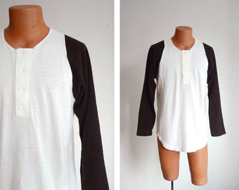 "70s/80s Knit Baseball Style Shirt - 44"" Chest"