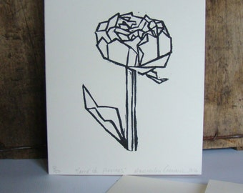 Birthday card ''Carré de pivoines'' (square of peonies) Original Linocut on a card wish