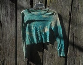 One of a kind custom bleached distressed teal long sleeve crop top destroyed cut off long sleeve t shirt size medium post apocalyptic grunge