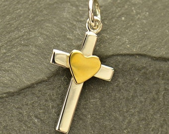 Sterling Silver, Cross Charm, Bronze Heart, Cross with Heart, Silver Cross Charm, Faith Charm, Silver Faith Charm, Faith Jewelry