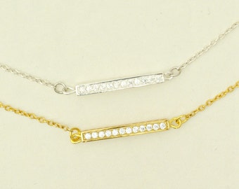 CZ Diamond Bar Necklace, Sterling Silver Gold Vermeil, Crystal Bar Necklace, Sparkly Bar Necklace, Pave CZ Diamond Necklace, Stick Necklace