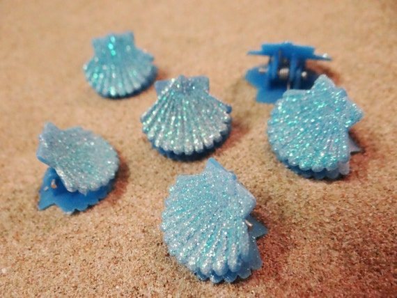 6 pc Blue Glitter Shell Seashell Clam Clamshell Hairclip Hair Clip Accessory Claw Mermaid Ariel Accessories Butterfly Clips