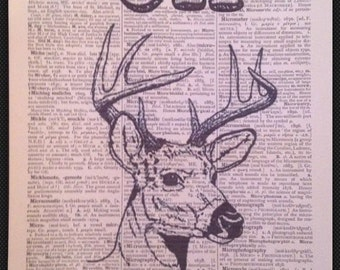 Stag 'Oh Deer' Quote Deer Head Print Vintage Dictionary Page Wall Art Picture Animal  Quirky Funky Cool