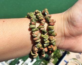 Unakite Jasper Bracelet,  Reiki Yoga Jewelry