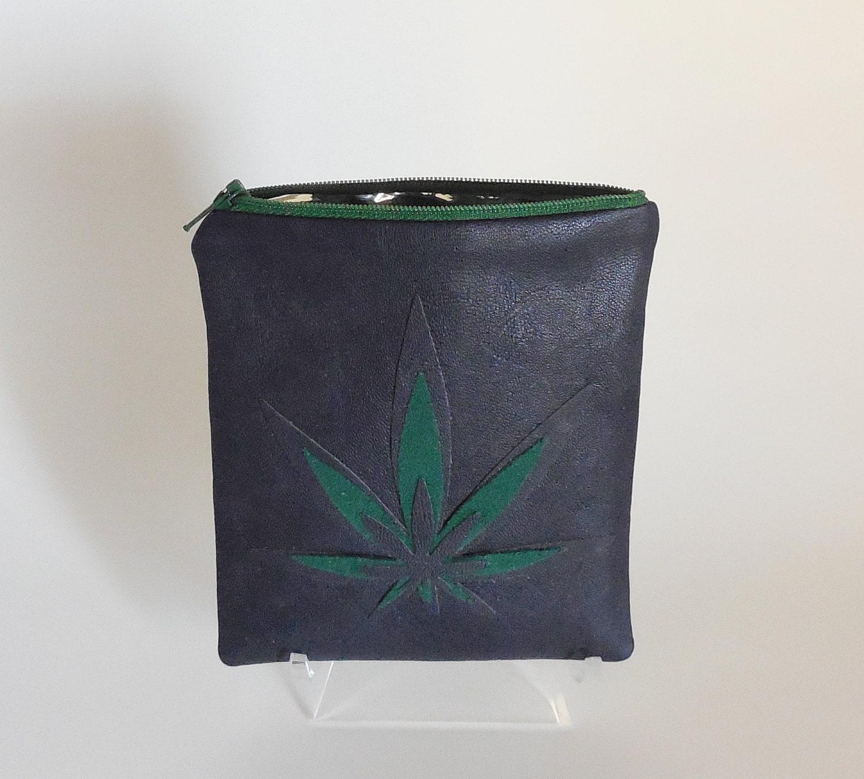 odor free marijuana toke bag leather cannabis leaf