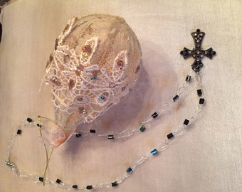 5899 Sterling Silver Crocheted Wire with Antique Black Cross Embellished with Swarovski Crystals