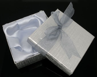 1  Silver Jewelry Box with a Bow, Bracelet & Watch Gift Boxes Cases Display 90mm x 90mm x 30mm, Bracelet Box, Party Favor Box, 6930