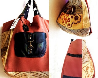 CANVAS and LEATHER TOTBAG
