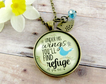 Under His Wings You Will Find Refuge Christian Sayings Bible Verse God Necklace Bird Jewelry Encourgement Gift Feather Charm