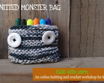 Knitted monster bag tutorial for kids