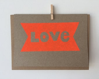 Handmade, hand stencilled, blank greeting card with envelope. 100% recycled paper