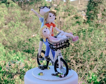 Bicycle Cake Topper with Stand and Customizable