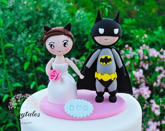 Batman Wedding Cake Topper with Stand / Customizable