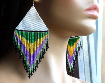 Very Large Earrings. White Yellow Purple Green Earrings. Native American Beaded Earrings Inspired. Dangle Earrings. Beadwork. Beaded Jewelry