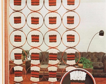 Vintage Macrame Pattern 1970's to make A Retro Macrame Wall Hanging, Curtain or Room Divider by A PDF for Immediate Digital Delivery