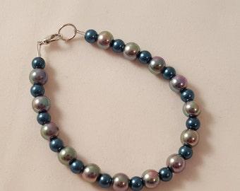 Metallic Blue Bracelet - Blue Bracelet - Women's Bracelet - Women's Blue Bracelet - Pearl Bracelet - Blue Pearl Bracelet - Pearl - Bracelet