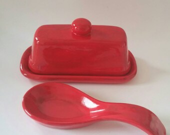 Red Butter Dish and Matching Spoon Rest, Deep Red Butter Dish and Spoon Rest Set