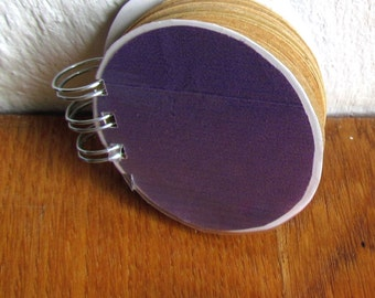 kraft paper, purple notepad, upcycled journal, round notebook, recycled notepad, paper goods, thank you gift, to do list, note paper