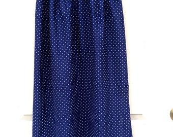 2FOR20 Vintage 1960s poka dot mavy blue midi skirt size medium