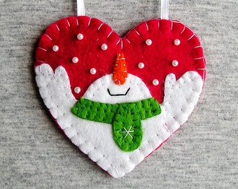 Christmas snowman, tree ornaments, felt snowman, home decor, felt christmas ornaments,  embroidery handmade, PRICE PER 1 ITEM red white