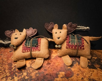 Set of Two Felt Reindeer Holiday Ornaments