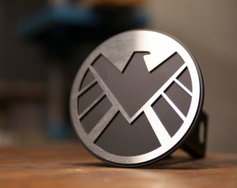 Agents of Shield Trailer Hitch Cover - Stainless Steel Version