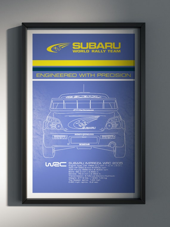 Subaru World Rally Team, Team Poster, WRC, 2005 World Rally Car Rear View - Art Print Production