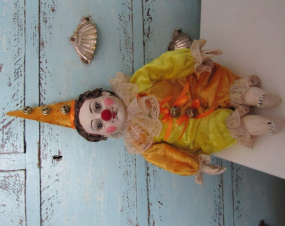 Collectible doll OOAK doll, handmade doll of polimer clay, collecting doll, handcrafted doll from polymer clayThe clown in suit plush