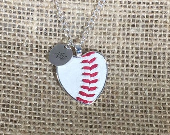 Real Baseball Heart Pendant Necklace with Charm