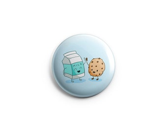 Cookie and Milk Friendship - one-inch pinback button or magnet -  best friends badge, friendship pin