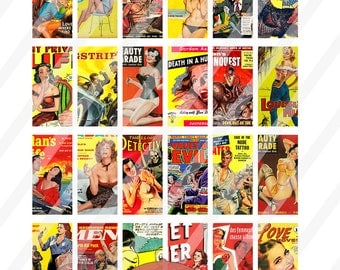 """Vintage Pulp Fiction Covers Domino Clip Art, Digital Collage Sheet, Jewelry Making, 1""""x2"""", Digital Downloads, domino tile, Jewellery"""
