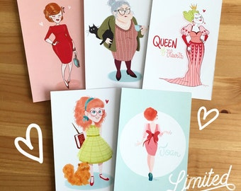 5 illustrated postcards - Set 1