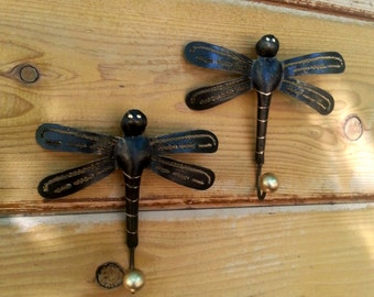 Dragonfly Hooks* Metal Dragonfly* Pair of Hooks* Necklace Holder* Home Decor* Metal Work* Nature* Unique Gift* Outdoor Decoration* Dragonfly