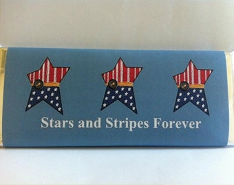 4th of july party, fourth of july, personalized candy wrappers, red white and blue, july 4th, fourth of july decor, independence day, 24 ct