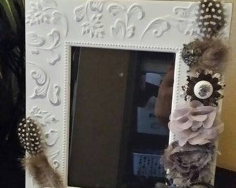 Picture Frame/5x7 Photo/Brown, Grey, White/Table Frame/Handmade/Embellished/Photo Frame